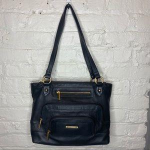 Stone Mountain Black Leather Hamptons Shoulder Bag